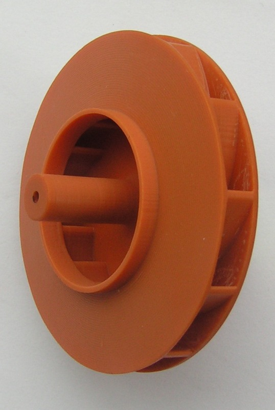 A plastic prototype of fan impeller made by 3D printer.