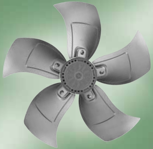 A impeller of an axial fan with blades which are made from aluminum plates.