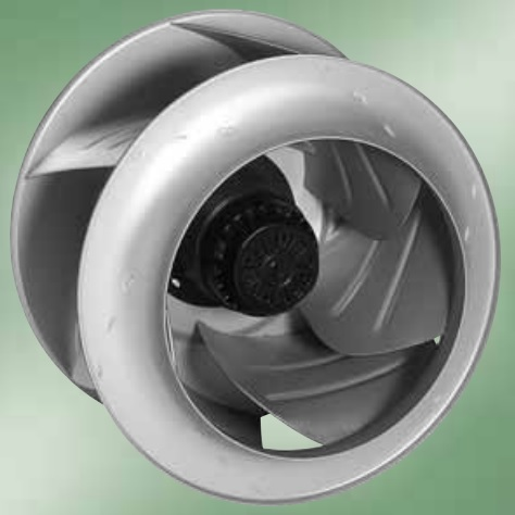 an impeller of radial fan with backward blades which is made from aluminum plates.